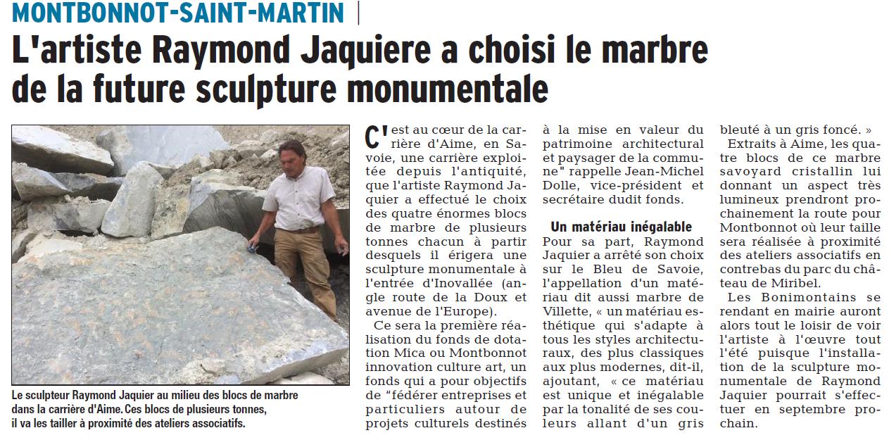 ARticle du DL sur le choix des blocs de marbre par Raymond Jaquier