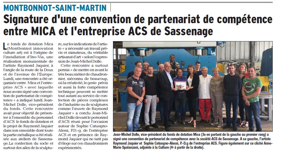 Article du Dauphiné Libéré sur la signature de la convention de partenariat avec ACS