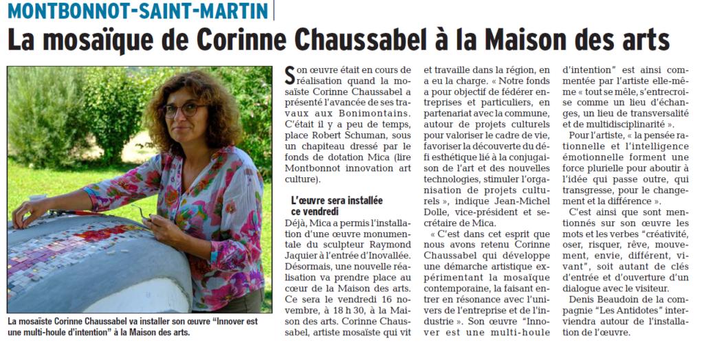 Article du Dauphiné Libéré annonçant l'inauguration de la mosaïque de Corinne Chaussabel
