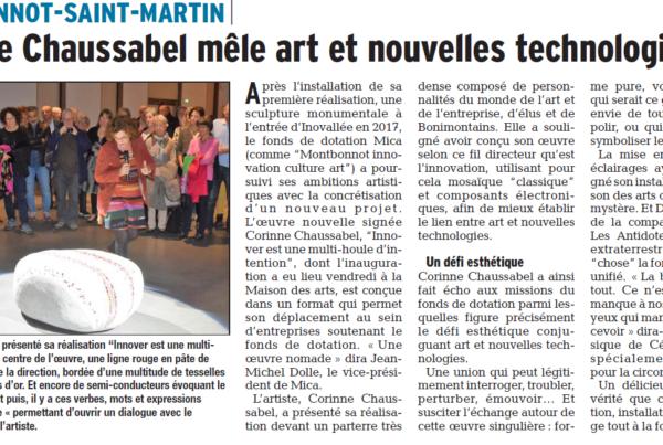 Article du Dauphiné Libéré sur l'inauguration de la mosaïque de Corinne Chaussabel